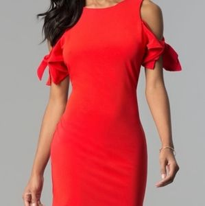 Red cold shoulder bow tie sleeve dress